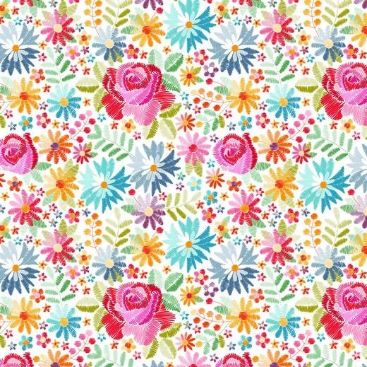 """Digitaldruck """"Gestickte Blumen"""" weiß, Baumwolllstoff, waschbar bei 60°"""
