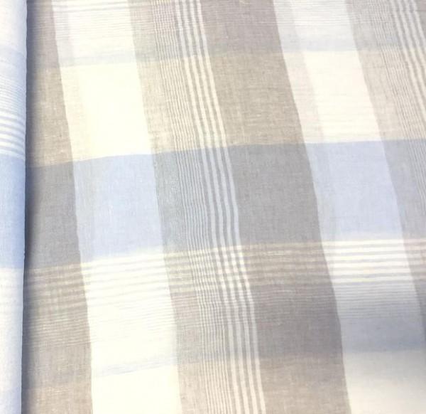 Feines Reinleinen kariert blau-beige