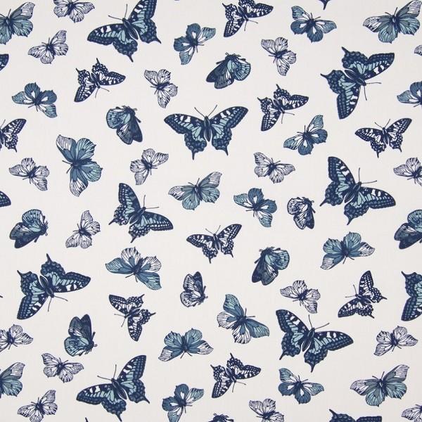 Pia Butterfly, blau auf weiß, Popeline