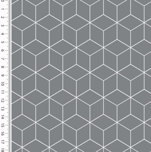 Cubes dunkelgrau, Baumwollstoff