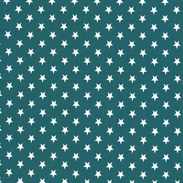 Lili Small Star weiß, petrol, Webstoff, waschbar bei 60°
