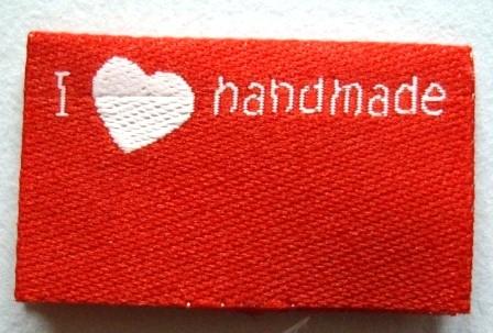 I love handmade, doppelt, rot, Webetikett