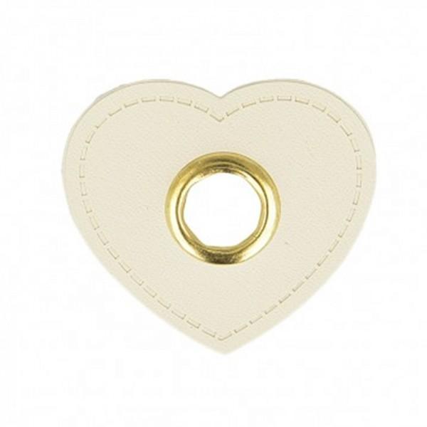 Kunstleder Ösenpatch, Herz 10 mm Ø, weiß
