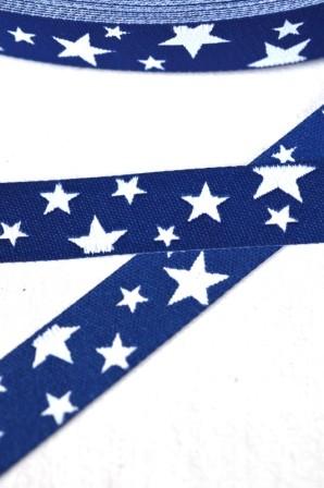 unregelmäßige Sterne, navy-weiß, Webband