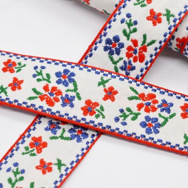 Tracht rote und blaue Blümchen auf weiß, Webband