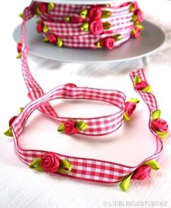 Vichykaro mit Röschen, pink, Satinband