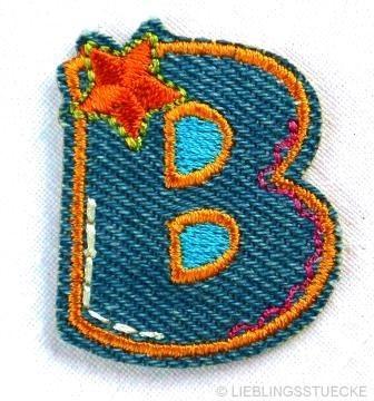 Applikation Buchstabe B, Jeansoptik