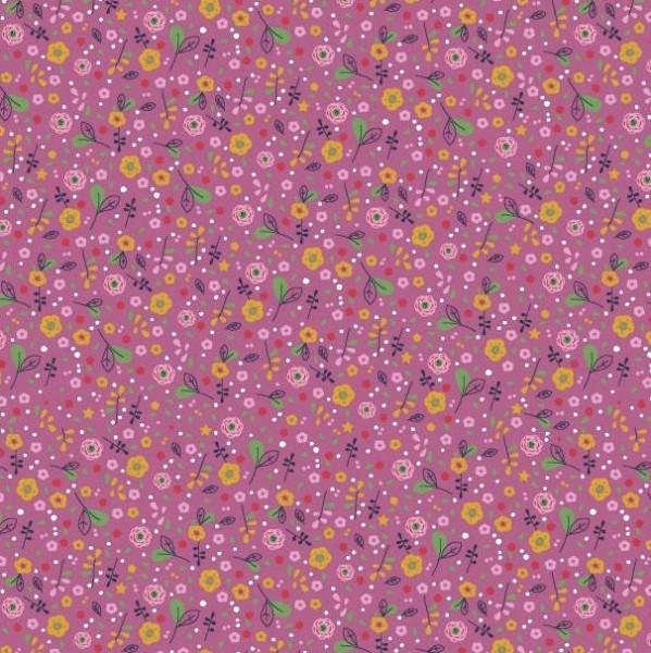 Baumwollpopeline, Beautiful Flower mauve