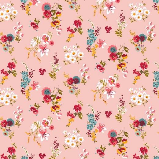 Alma, Laminat/Wachstuch, Wiesenblümchen rosa