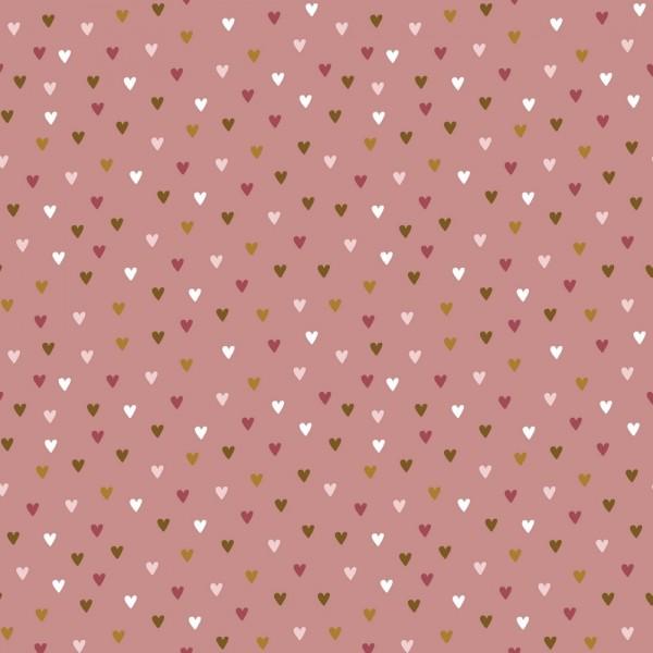 Kleine Herzen dunkles altrosa, Baumwoll-Popeline, waschbar bei 60°
