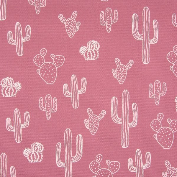 Alfredo Dekostoff Kaktus weiß auf altrosa
