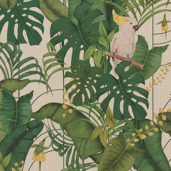 Dekostoff, Digitaldruck Blätter und Kakadu