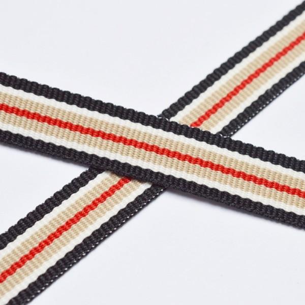 Streife beige-schwarz-rot, Ripsband