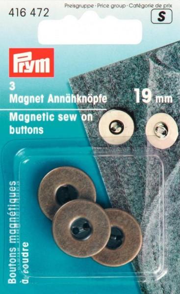 PRYM Magnet Annähknöpfe, altmessing