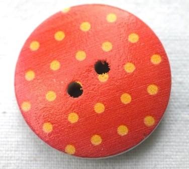 gelbe Punkterl auf orange, Holzknopf