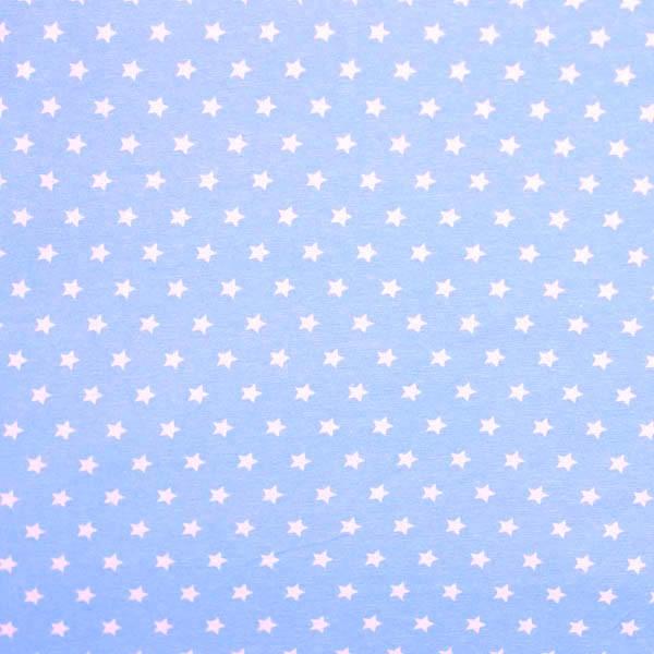 Stenzo kleine Sterne weiß auf hellblau, Popeline