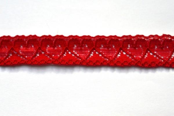 elastische Spitze mit Herzen, rot