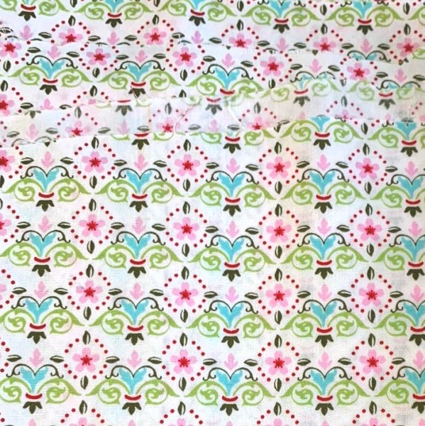 Muster rosa/grün/weiß, Webstoff, waschbar bei 60°, *Letztes Stück ca. 40 cm*