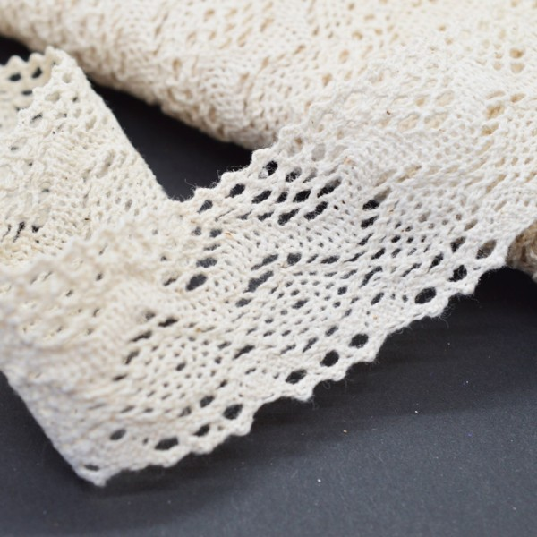 Klöppelspitze aus Baumwolle, natur, Gretl, 40 mm