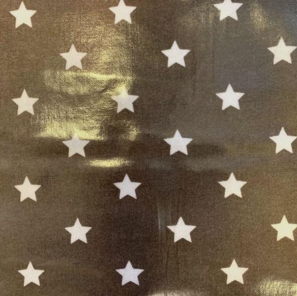 Laminat/Wachstuch, Sterne weiß auf taupe, *SALE, 2.Wahl*