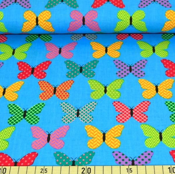 Butterfly bunt auf türkis, Baumwoll-Popeline