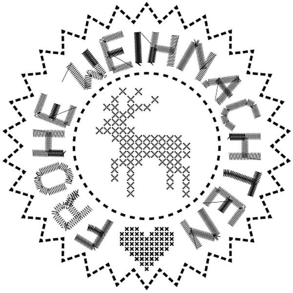 Runder Stempel, Rentier Kreuzstich + Stempelkissen gratis dazu