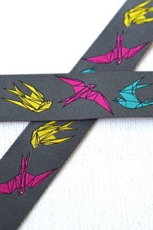 Origami auf grau, Webband