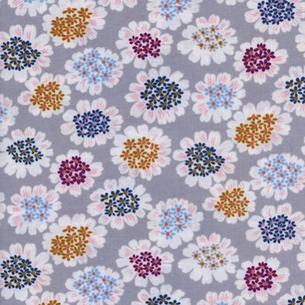 Cotton+Steel, Steno Pool, Blumen auf grau, Webstoff