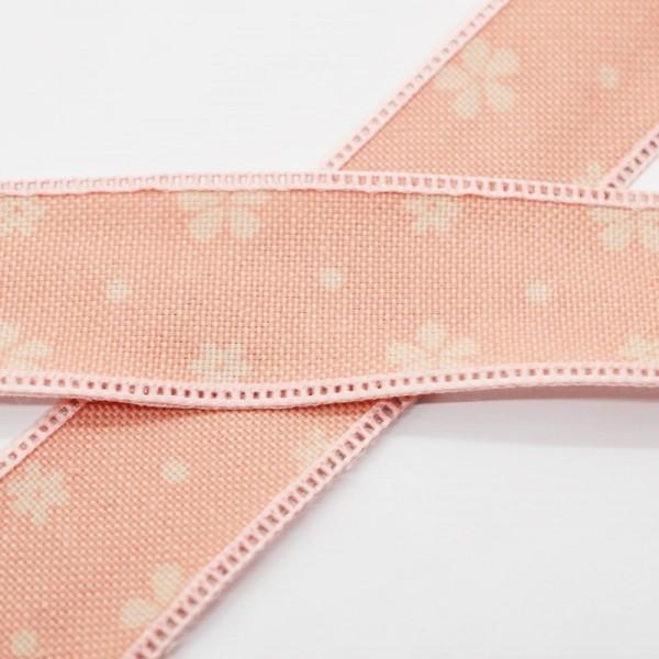 Blumen und Punkte, rosé, Baumwollband