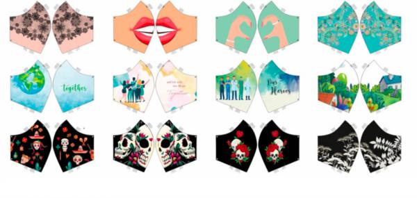 Maskenstoff Lady 2, für 12 Masken, Paneel, Baumwollstoff, waschbar bei 60°