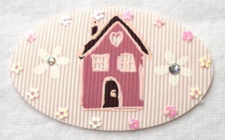 Applikation Haus auf rosa