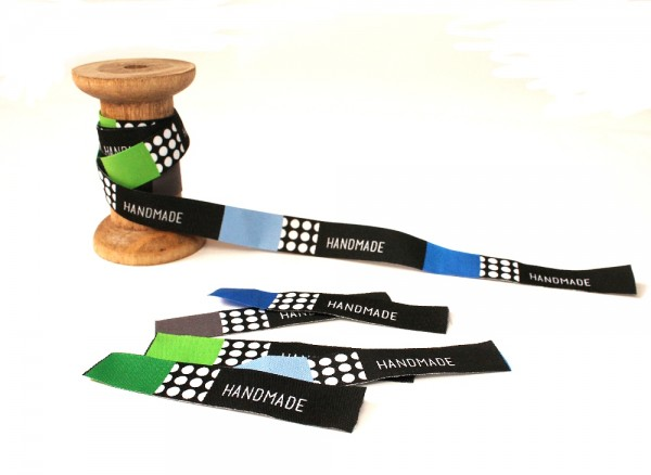 Handmade - Rectangles, Blautöne, Webband