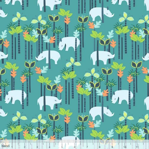 blendfabrics, Sundaland Jungle, Nilpferde petrol, Webstoff