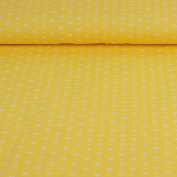 Lou, Herzen und Punkte, gelb, Popeline
