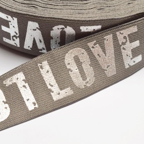 Gummiband breit, Love grau