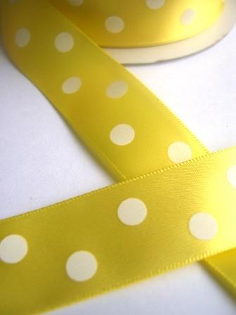 Satinband, polka dots, gelb, 22 mm