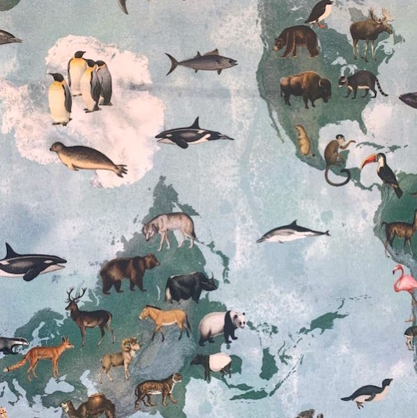 Dekostoff Weltkarte mit Tieren