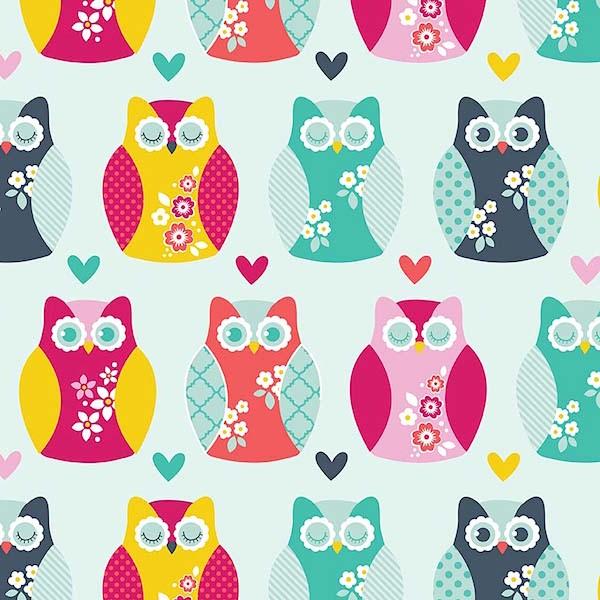 AUSVERKAUFT! Flanell Owls and Hearts aqua, *Letztes Stück ca. 100 cm*