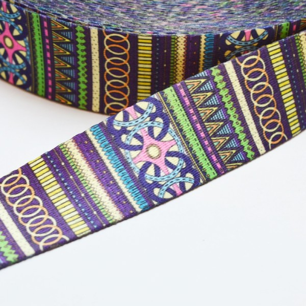 Gurtband, Inka Mustermix lila-grün