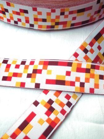 Mosaik, gelb-orange, Webband breit *SALE*