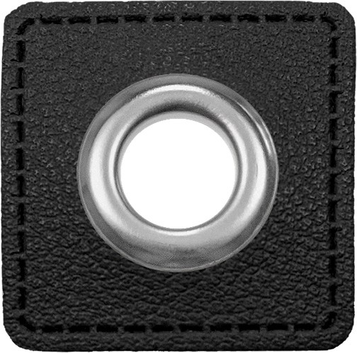 Kunstleder Ösenpatch, Quadrat, 10 mm Ø, schwarz- breiter Ring