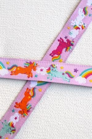 Rainbow Unicorns, rosa, Webband *SALE*