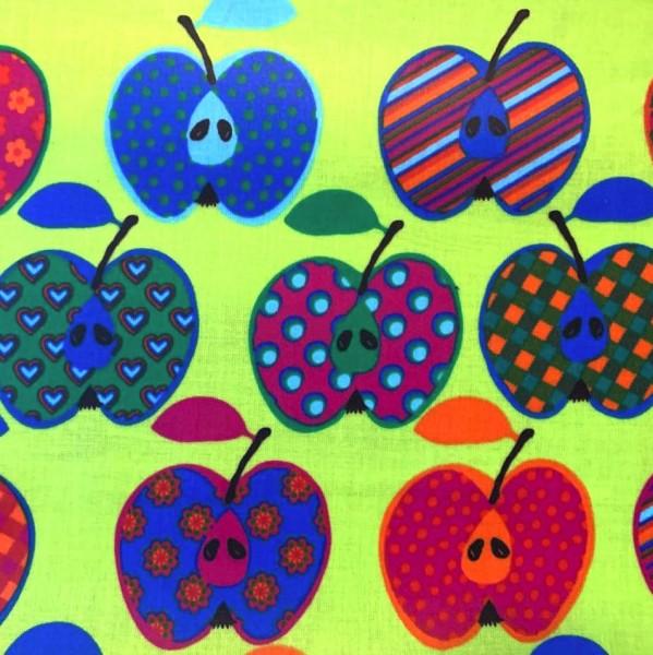 Laminat/Wachstuch, Bunte Äpfel auf hellgrün