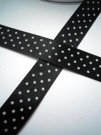 Satinband, micro dots, schwarz, 15 mm