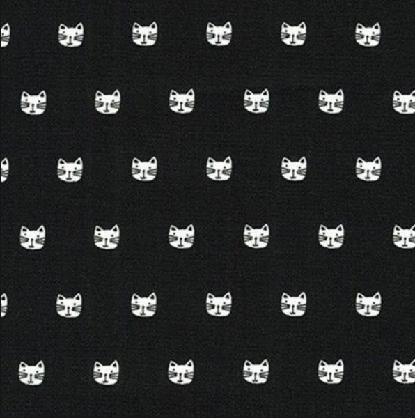 Robert Kaufmann Cats weiß auf schwarz, Baumwollstoff