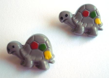 Schildkröte, grau, Knopf