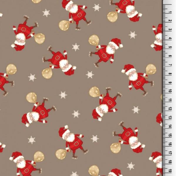 Xmas, Weihnachtsmann auf taupe, Baumwollstoff