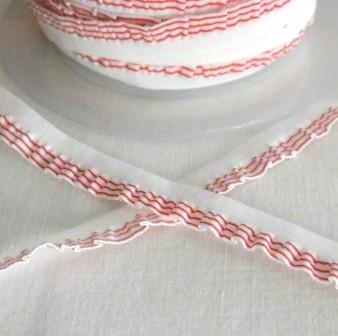 Streifenrüsche, schmal, rot-weiß