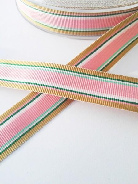 Streifen rosa-braun-grün, Ripsband *SALE*