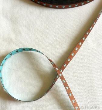 schmales Sternchenband, schoko-helltürkis, Webband beidseitig